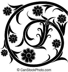 黑色, flowers., 矢量, 黑色半面畫像, illustration.