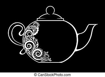 黑色, isolated., 植物, 茶壺, 裝飾, 美麗, 裝飾品, 白色