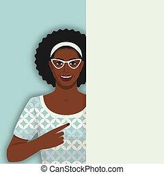 黑色, retro, 婦女微笑, 空白, 點, 海報
