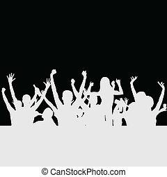 黨, 矢量, 黑色半面畫像, 人們
