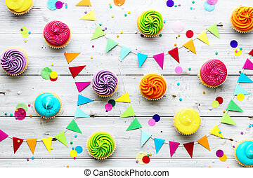 黨, 鮮艷, 背景, cupcake