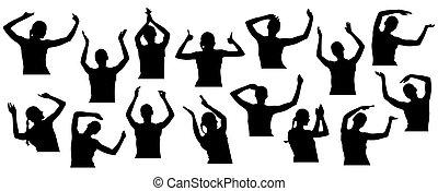 鼓掌歡迎, close-up., illustration., 手, 矢量, 黑色半面畫像, 年輕, 招手, 婦女, 集合