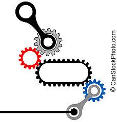 齒輪, box-mechanical, 工業, 複雜