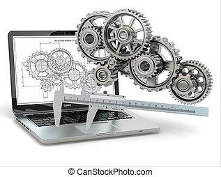齒輪, computer-design, trammel, 膝上型, engineering., draft.
