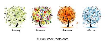 -, 四, 藝術, 秋天, 美麗, 樹, 春天, 設計, winter., 季節, 夏天, 你