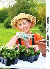 -, 婦女, 園藝, 年輕