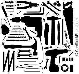-, 工具, 黑色半面畫像, 插圖, diiy