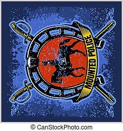 -, 徽章, grunge, 矢量, 盾, 警察, 背景。, 登上, 標簽