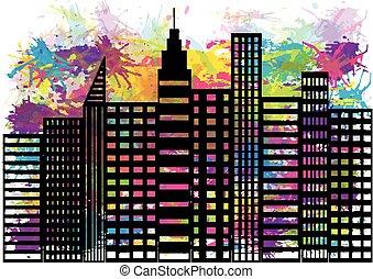 -, 摘要, city., 插圖