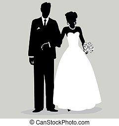 -, 新郎, 黑色半面畫像, illust, 新娘