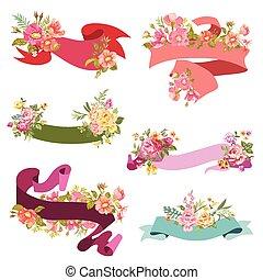 -, 矢量, 設計, 婚禮, 植物, 剪貼簿, 旗幟, 卡片, 帶子