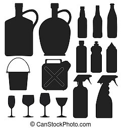 -, 矢量, 黑色半面畫像, 瓶子, 彙整