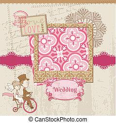 -, 設計, 邀請, 矢量, 婚禮, 剪貼簿, 祝賀, 卡片