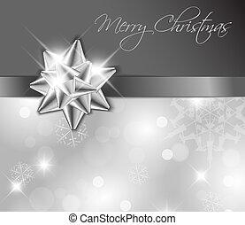 -, 銀, 卡片, 弓, 聖誕節, 帶子