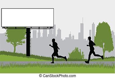 -, 黑色半面畫像, 人, 公園, 跑