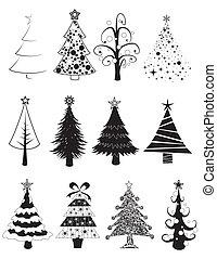 -b&w, 集合, 聖誕樹