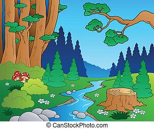 1, 卡通, 風景, 森林