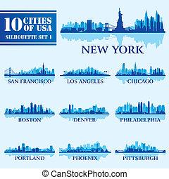 1, 城市, 集合, 黑色半面畫像, 美國