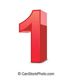 1, 晴朗, 數字, 紅色, 3d