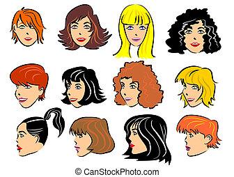 12, 集合, 臉, 婦女