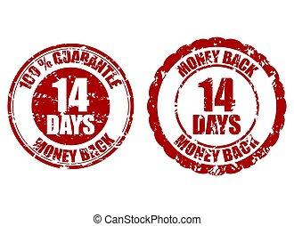 14, 郵票, 錢, 背, 天, 橡膠, 保證