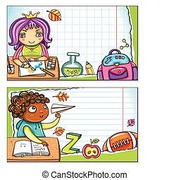 2, 卡片, 學校