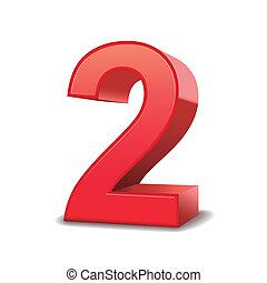 2, 晴朗, 數字, 紅色, 3d
