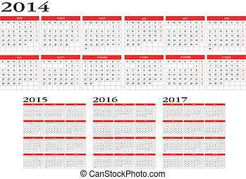 2014, 日曆, 2017