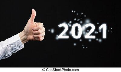 2021., 顯示, 等級, 手, 向上。, 好, 拇指, 概念