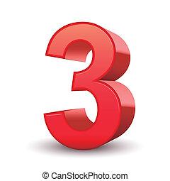3, 晴朗, 數字, 紅色, 3d