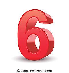 3d, 晴朗, 數字, 紅色, 6