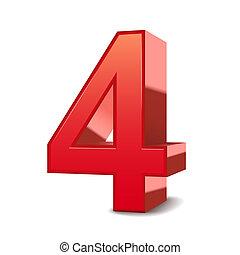 3d, 晴朗, 4, 紅色, 數字