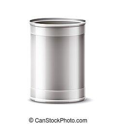 3d, 銀, 矢量, 產品, 罐頭能, 容器