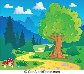 8, 卡通, 風景, 森林
