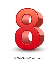 8, 晴朗, 數字, 紅色, 3d