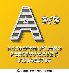 9, 字母表, 風格, retro, 條紋