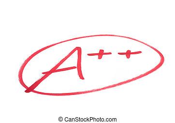 a++, 學校, 考試, 等級, (double, 好极了!, plus)