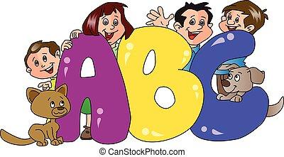 abc, 前景。, 家庭, 矢量, 塊, 愉快
