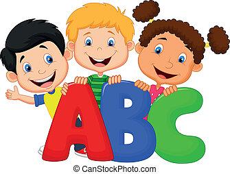 abc, 卡通, 孩子, 學校