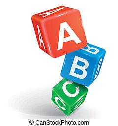 abc, 詞, 骰子, 插圖, 3d