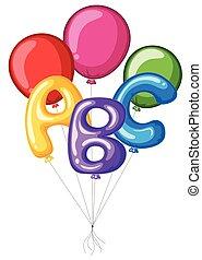 abc, 鮮艷, 字母表, 气球