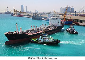 abu, 小船, dhabi, 陽光充足的日, 航行, 港口, 靠碼頭, 工業的船, 海, 二