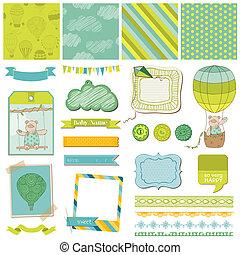 airballoon, -, 熊, 矢量, 設計, 嬰孩, 剪貼簿, 元素