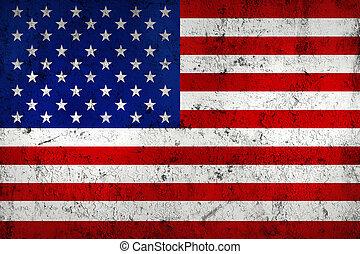 (american), 旗, 美國, 風化, grunge, 骯髒