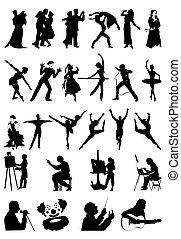 art., 黑色半面畫像, 矢量, 插圖, 人們