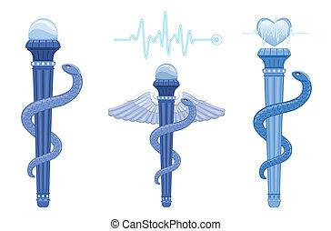 asclepius, 符號, -, 鞭笞, 醫學, caduceus