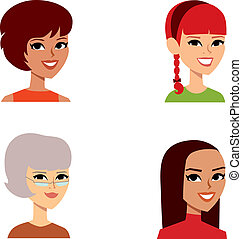 avatar, 女性, 集合, 肖像, 卡通
