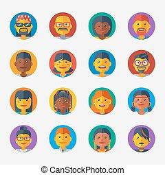 avatar, 集合, icons., 矢量, 設計, 套間, illustration.