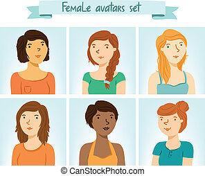 avatars., 6, 集合, 女性, 字符