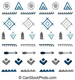 b, 部落, pattern., seamless, 手, 水彩, 种族, 畫, 摘要